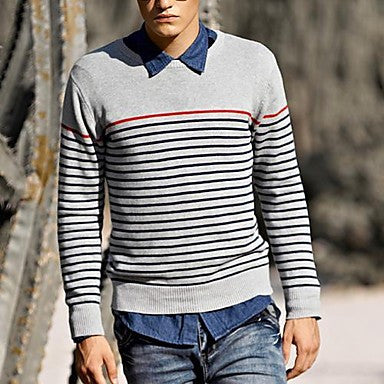 Men's Korean Style Round Collar Stripes Knitwear Sweater
