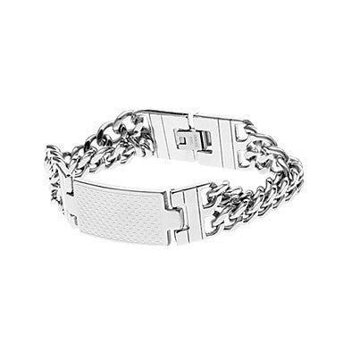 Classic Cell 47cm Men's Silver Titanium Steel ID Bracelet(1 Pc)