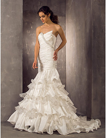 Fit and Flare Sweetheart Floor-length Taffeta And Organza Wedding Dress