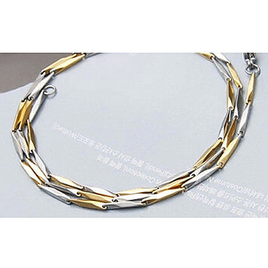 Fashion Three-dimensional Silver Titanium Steel Chain Necklace(Random Pattern) (1 Pc)