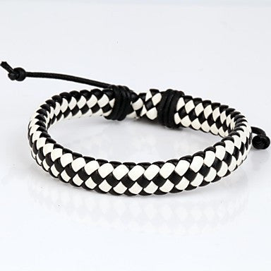 Comfortable Adjustable Men's Leather Cool Hard Bracelet Black And White Braided Leather(1 Piece)