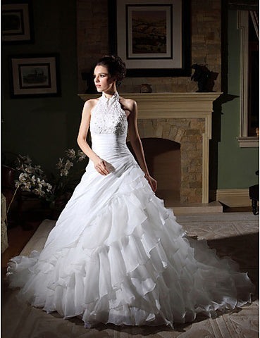 Wedding Dress Ball Gown Chapel Train Tiers Organza High Neck Halter With Beading Appliques