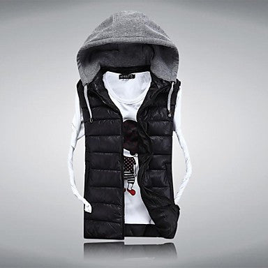 Men's 2014 New Fashion Hooded Sleeveless Casual Pure Vests.