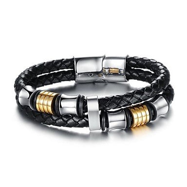 European Style Genuine Leather Magnetic Buckle Men's Bracelet
