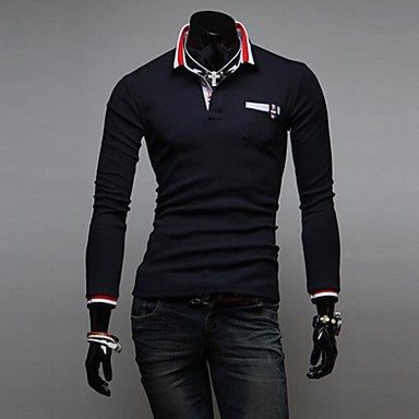 Men's Slim Neckline Stitching Color Polos