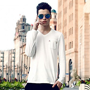 Men's V-Neck Splicing Long Sleeve T-Shirt