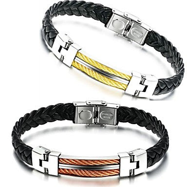 Woven Leather Men's Fashion and Personality Titanium Steel Bracelet