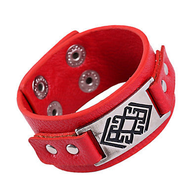 Punk 20cm Men's Black,Red Leather Leather Bracelet(Black,Red)(1 Pc)
