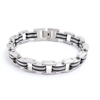 Classic Men's Silver and Black Stripe 316L Stainless Steel Bracelet