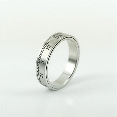 Fashion Men's Roman Numerals Titanium Steel Rings