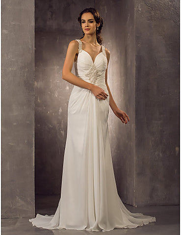 Sheath/Column Straps Sweep/Brush Train Chiffon Wedding Dress (518931)