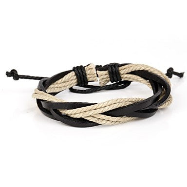 Fashion Black And Beige Adjustable Men's Leather Bracelet Twist Leather And Hemp (1 Piece)