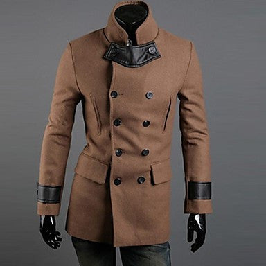 Men's Slim Casual Contrast color Trench coat