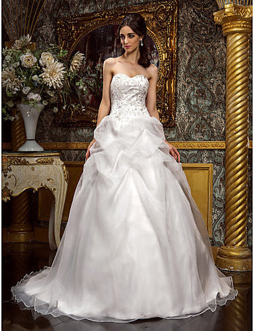 A-line Princess Sweetheart Court Train Organza Lace Wedding Dress (604661)