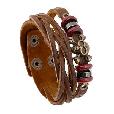 Classic Small Rings And Skull 20cm Men's Brown Leather Leather Bracelet(1 Pc)