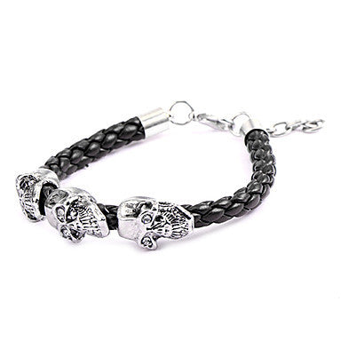 Punk Style Three Big Skull Brown Leather Bracelet(1 Pc)