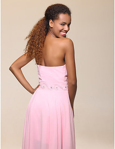 High Low Sweetheart Chiffon Evening/Prom Dress With Beadings