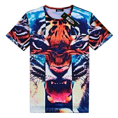 Men's Round Collar Short Sleeve 3D Print T Shirt