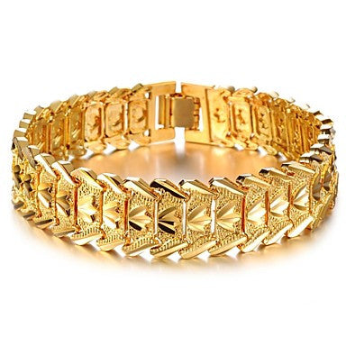 Cool Atmosphere Copper Plating Wide Men 18 K Gold Bracelet