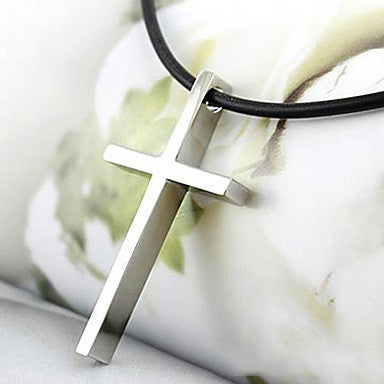 Fashion (Cross Pendant) Black Leather Pendant Necklace(Silver) (1 Pc)