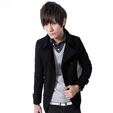 Men's Lapel Collar Casual Trench Coat