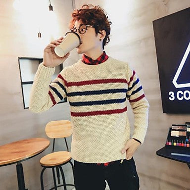 Men's Round Collar Couples Stripes Knit Sweaters(More Colors)