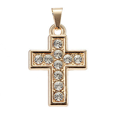 Exquisite High Quality Shining Golden Rhinestone Cross Pendant(1 Piece)