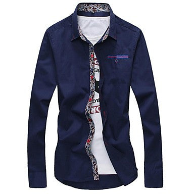 Men's Floral Print Neckline Long-sleeved Shirt