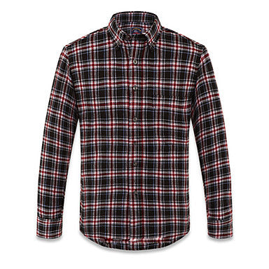 Cool Red Black Plaid Pattern Sanded 20% Cotton 80% Terylene Mens Casual Shirt