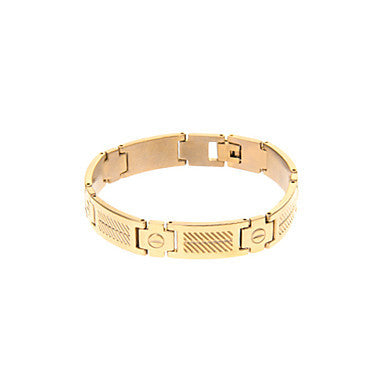 Classic Block Shape 44cm Men's Golden Titanium Steel ID Bracelet(1 Pc)