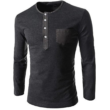 Men's Round Collar More Decorative Buttons Long Sleeved T-Shirt
