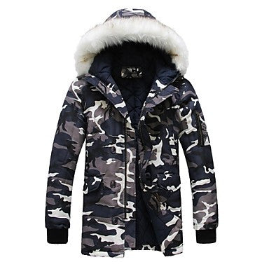 Men's Casual Fashion Thickened Camouflage Hooded Fur Collar Cotton Coat Down Jackets