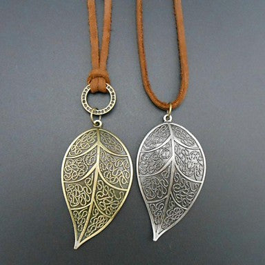 European Leaf Shape Leather Pandant Necklace(1pc)