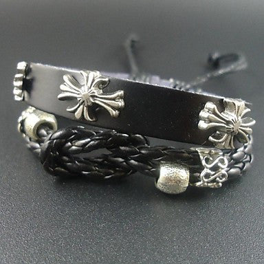 2015 New Arrival Punk Style Vintage Cross Charms Men Jewelry Genuine Leather Bracelet