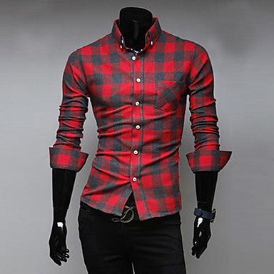 Men's Casual Long Sleeve Plaid Color Matching Shirt