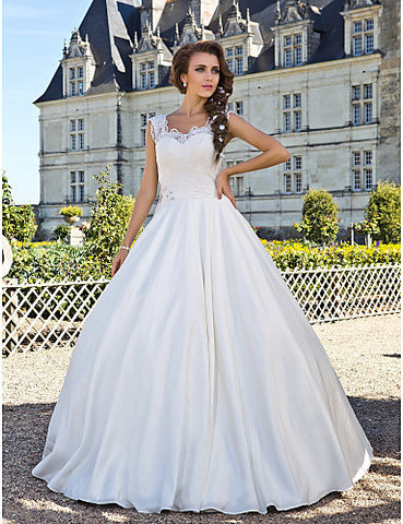 Wedding Dress A Line Floor Length Taffeta Lace Scoop With Beading