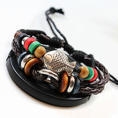 Ethnic Fish 21cm Unisex Coffee Alloy Leather Bracelet(1 Pc)