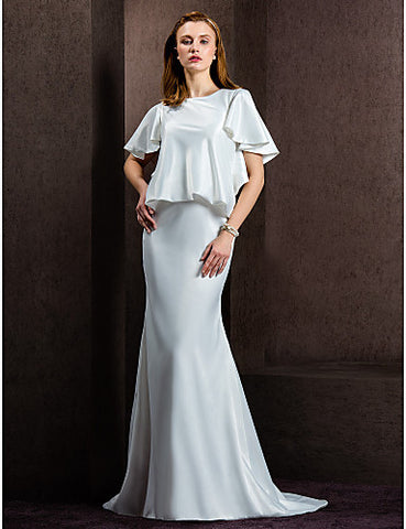 Sheath/Column Jewel Court Train Satin Wedding Dress
