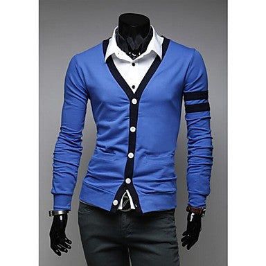 Men's Joining Together Cultivate One's Morality Bright Color Long Sleeve Cardigan Sweater