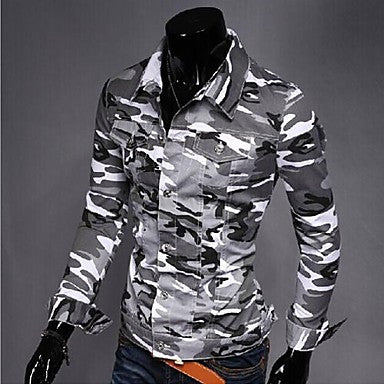 Men's Camouflage Jacket Coat Iapels