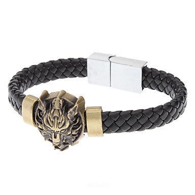 Black Wolf Head Shape Leather Bracelet