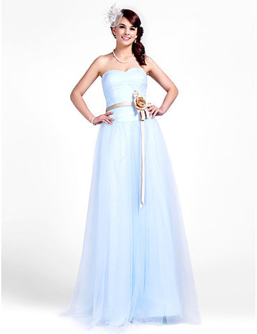 Bridesmaid Dress Floor Length Tulle A Line Sweetheart Dress