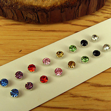 Men's Round Rhinestone Magnet Cilp Earrings(Random Color)