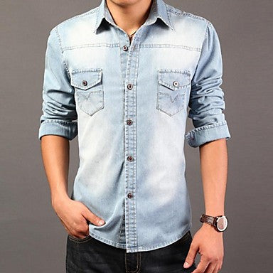 Men's Slim Casual Long Sleeved Pure Shirt