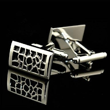 Toonykelly Fashion Men's Silver Copper Black Enamel Cufflink(Silver)(1 Pair)