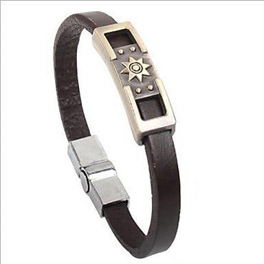 Punk Style Sun Symbol Alloy Leather Bracelet(1 Pc)
