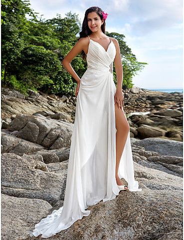 Sheath/Column V-neck Court Train Chiffon Wedding Dress