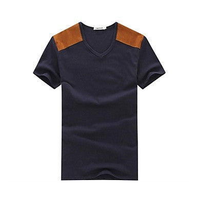 Men's Round Collar Casual Short Sleeve Patchwork Tops Fashion T-Shirts