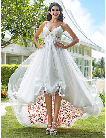 Wedding Dress A Line Asymmetrical Organza V Neck With Flower Pattern and Sash