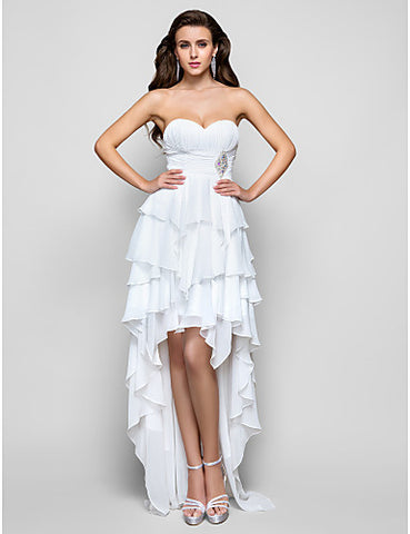 A-line Sweetheart Asymmetrical Chiffon Evening/Prom Dress